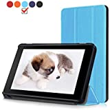 Roscea Case for All-New Amazon Fire 7 Tablet - Slim Lightweight Smart Cover [Folding Stand] Case with Auto Sleep / Wake for Amazon Fire 7 (7th Generation,2017 Release) - Blue