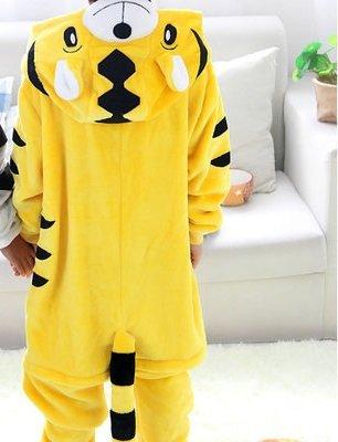Unisex Children Kids Pajama Cartoon Animal Onesies Pajamas Yellow Tiger Onesie Cosplay Party Costume Jumpsuits Flannel Homewear,Tiger,12T,Animals - Abba Children's Costumes