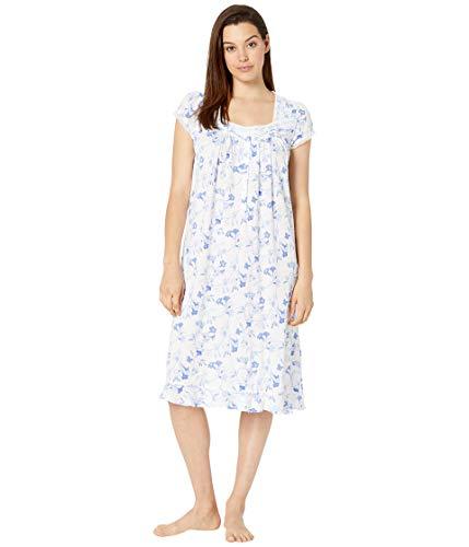 Eileen West Women's Cotton Modal Knit Cap Sleeve Waltz Nightgown White Ground Trumpet - Sleeve Waltz Gown