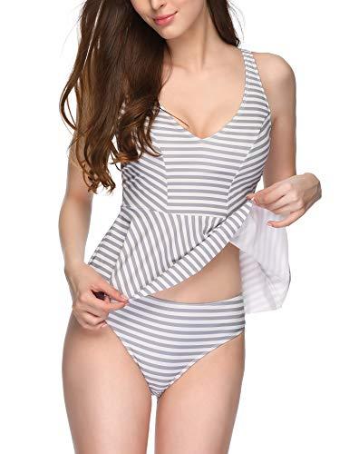 - Verano Playa Women Tankini Swimsuit Ruched Ruffle Racerback Tops Two Piece Floral Print Bathing Suit Tummy Control Swimwear