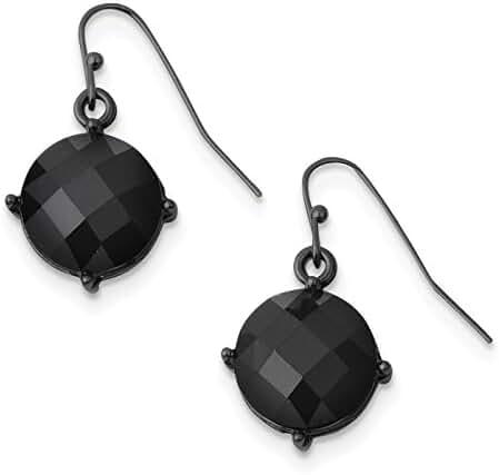 Black-plated Black Epoxy Stones Dangle Earrings