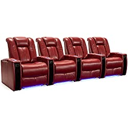 Seatcraft Monaco Leather Home Theater Seating Power Recline with Adjustable Powered Headrests and Built-In SoundShaker (Row of 4, Red)