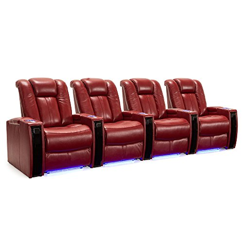 Seatcraft Monaco - Leather Power Recline - Home Theater Seating Chairs Powered by SoundShaker - USB Charging - Ambient Lighting - Wall Hugger - (Row of 4, Red)