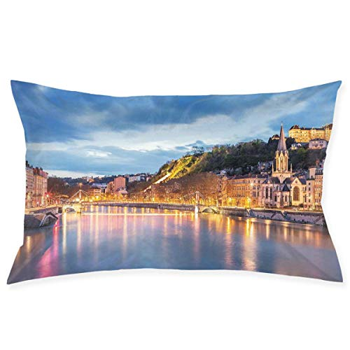CardlyPhCardH Pillow Sham,View of Saone River in Lyon City at Evening France Blue Hour Historic Buildings,Decorative Standard Queen Size Printed Pillowcase 30 X 20 Inches,Pillow Cushion -