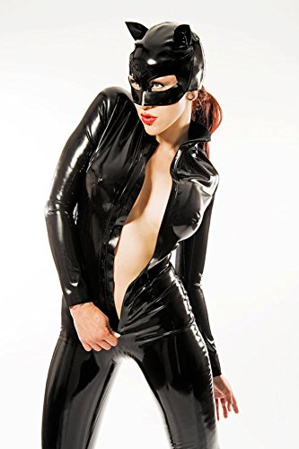 XSQR Women Black PU Patent Leather Catsuit Sexy Catwoman Costume Latex Bodysuit Stretchable with Tail for Halloween,XXL ()