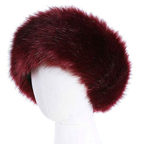 Faux Fur Headband with Elastic for Women's Winter Earwarmer Earmuff (one size,Burgendy)