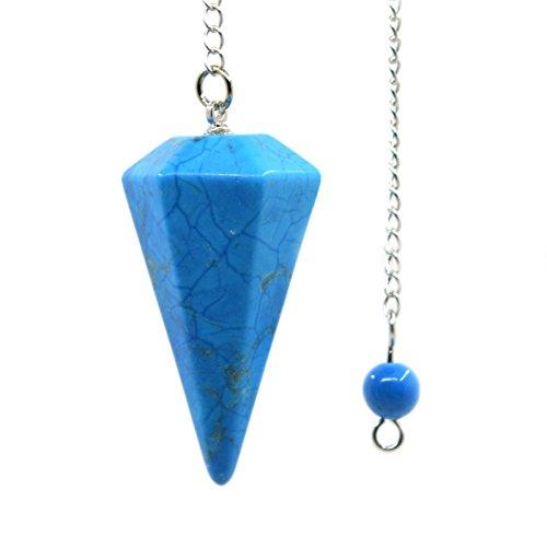 Religious Turquoise Pendant - Turquoise Howlite Gemstone Hexagonal Pointed Reiki Chakra Pendant Pendulum
