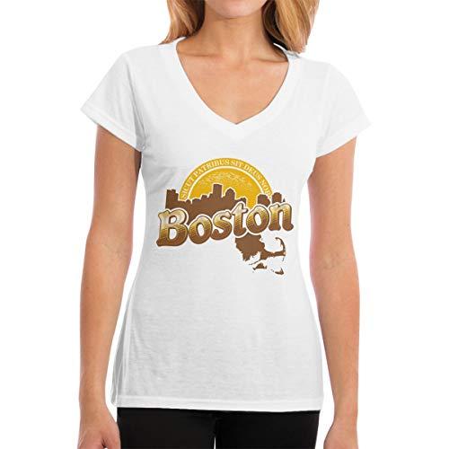 (Boston Cheers Women's Short-Sleeve V Neck T-Shirt White)
