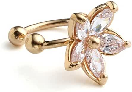 JOVIVI® 2pc CZ Crystal U-shaped Flower Horseshoe Bar Clip On Ear Stud Cuff Earrings Cartilage Gift
