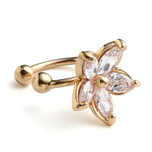 Cartilage Cuff (JOVIVI 2pc Women Silver Gold Flower Cubic Zirconia Ear Wrap Charm Cuff Earring Cartilage Stud Clip On No Piercing)
