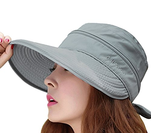 Womens 2in1 Wide Brim Summer Folding Anti-UV Golf Tennis Sun Visor Cap Beach Hat, Grey, OS -