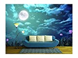 wall26 - The Beauty Moon in The Night Sky - Removable Wall Mural | Self-Adhesive Large Wallpaper - 100x144 inches