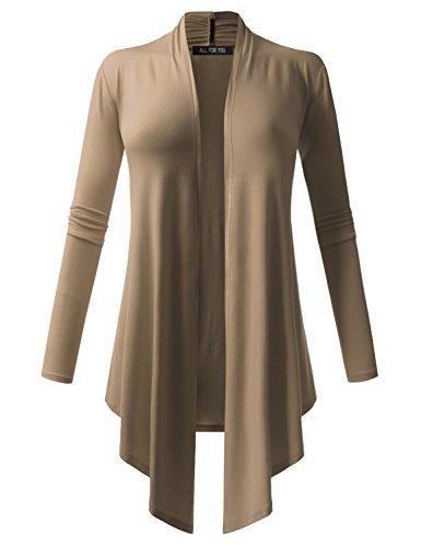 ALL FOR YOU Womens Soft Drape Cardigan Long Sleeve Mocha Small