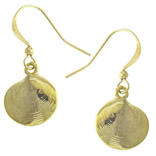 Clam Shell Seashell Quahog Drop Earrings GoldTone by, used for sale  Delivered anywhere in USA