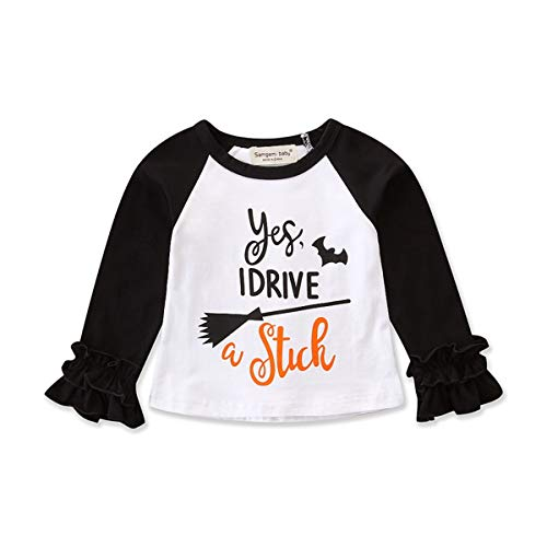 Toddler Baby Kids Girl Unicorn Pumpkin Print Long Sleeve Cotton T-Shirt Top (3 T, White (F)) -