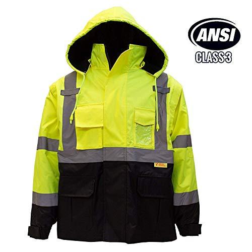 New York Hi-Viz Workwear Troy Safety Men's Ansi Class 3 High Visibility Safety Bomber Jacket with Zipper, PVC Pocket, Black Bottom, Qty1 (2XL, Lime Green)