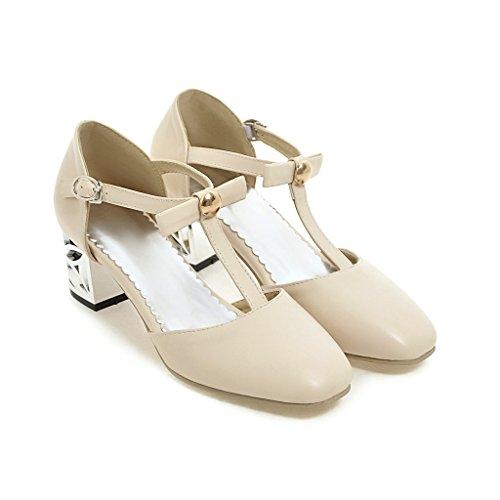 amp;X Bombas Superficial Bloque Talones Zapatos Boca Sandalias La Beige Mujer CXQ Tacones Prom Toe QIN Cuadrados Epqwn4