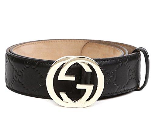 Wiberlux Gucci Men's GG Buckle Logo-Engraved Real Leather Strap Belt