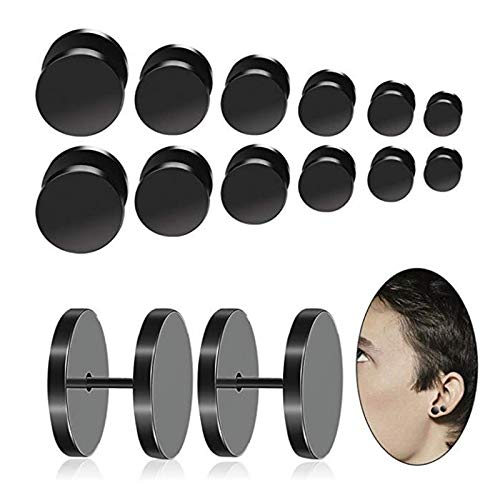 Stainless Steel Anodized Black Round Earrings | Ear Studs (4Mm-14Mm 40Pcs)