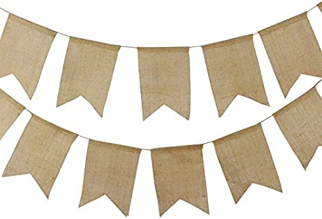Burlap Banner Bunting,4.4 M Linen Flag Rustic Garlands Double-Sided Vintage Decoration for Wedding Favours