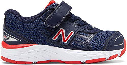 (New Balance Boys' 680v5 Hook and Loop Running Shoe, Pigment/Velocity RED, 5 XW US Toddler)