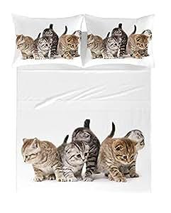 Zenoni & Colombi Sábanas/Colchones para Cama Individual con Gatos en 100% algodón Puro