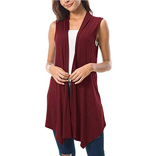 (〓COOlCCI〓Women's Sleeveless Draped Open Front Cardigan Vest Asymmetric Hem,Cardigan Lightweight Draped Layering Vest Wine)