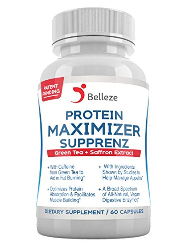 Supprenz Protein Maximizer Digestive Enzymes + Appetite Suppressants. Broad Spectrum Plant Based Enzymes + Saffron and Green Tea Extracts. Made in USA. Patent Pending, by Belleze.