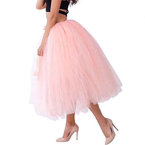 Party Train Handmade Tutu Tulle Skirt 80cm Long Overskirt for Adult Photography Wedding Peach