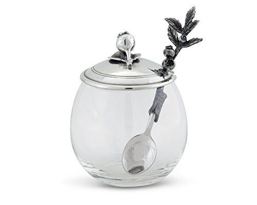 Vagabond House Pewter Blueberry Jam Jar/Pot with Spoon 5