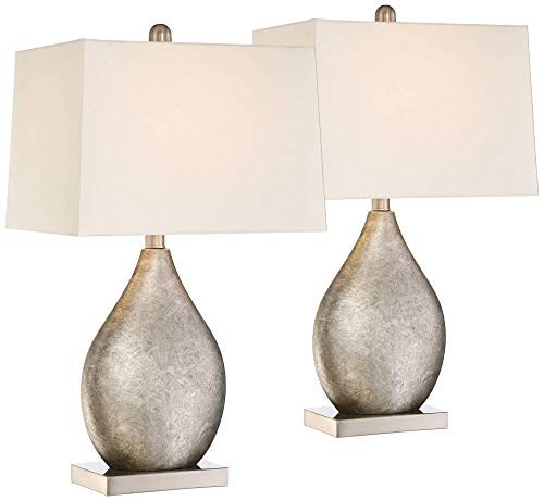 Royce Modern Table Lamps Set of 2 Silver Metal Teardrop Off White Rectangular Shade for Living Room Family Bedroom Bedside - 360 - Modern Table Lamp Lamps Plus