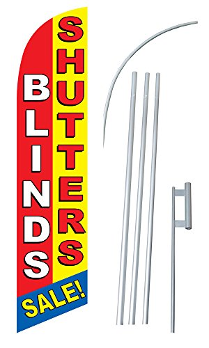 'Blinds/Shutters Sale' 12-foot SUPER Swooper Feather Flag With Heavy-Duty 15-foot Pole and Ground Spike