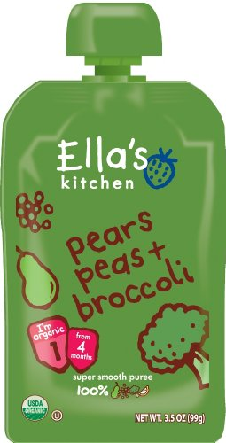 Ella's Kitchen Organic 4+ Months Baby Food, Pears Peas and Broccoli, 3.5 oz. Pouch (Puree Pear)
