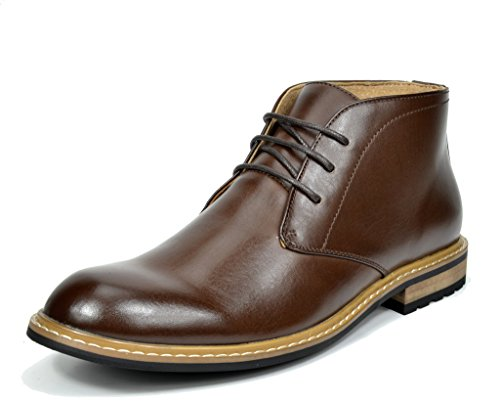 Bruno Marc BERGEN-02 Men's Formal Modern Lace Up Leather Lined Short Ankle Oxford Dress Boots Dark Brown Size 10.5