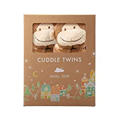 """""""Share and share alike"""" Angel Dear's new Cuddle Twins are a perfect gift for a new born. Two identical blankies are housed in an adorable, reusable box."""
