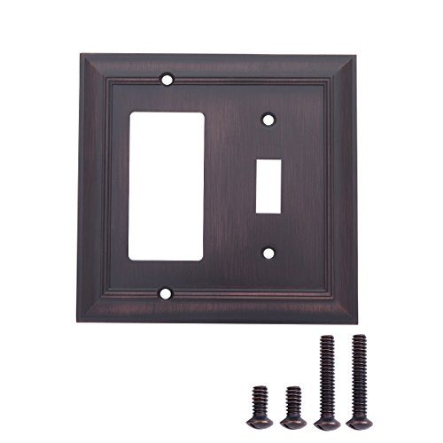 AmazonBasics Toggle and Gang Light Switch Wall Plate, Oil Rubbed Bronze, 2-Pack