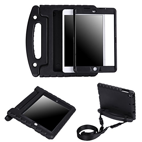HDE Case for iPad Mini 1 2 3 Heavy Duty Full Body Cover - Dual Layer Design with Built in Screen Protector and Shoulder Strap for Apple iPad Mini 1st 2nd 3rd Generation - Black
