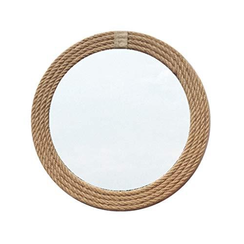 Retro Round Mirror, Hand Made Wooden Hemp Rope Mirror Bedroom Vanity Mirror -