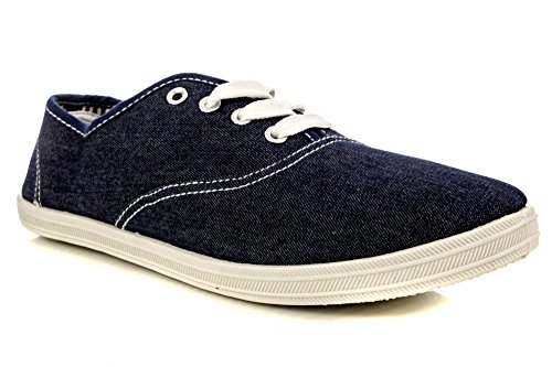 Charles Albert Womens Canvas Lace Up Sneakers Shoes Denim fYBPCFz