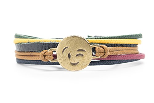 Orti Jewelry Winking Face Emoji Bracelet Original Emoji Fashion Bracelet – Handmade Leather, Metal & Rope Bangle, Stylish Design, Adjustable Unisex Jewelry, Adorable Romantic Gift Idea Fancy Rope Bracelet
