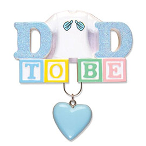 Personalized Dad to Be Christmas Ornament for Tree 2018 - Blue Glitter Lettering Man Me T-shirt Lego Block Heart dangling - Expecting Father Baby Shower Boy Girl New Holiday - Free Customization (D) by Ornaments by Elves