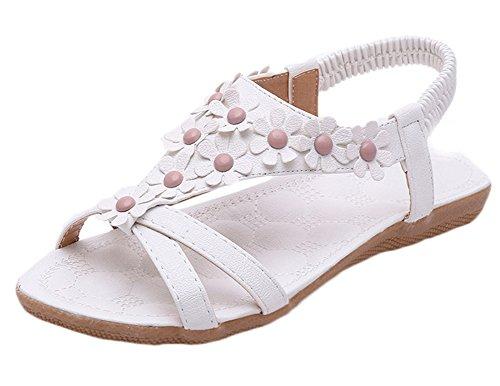 Scothen Sandalias de punta abierta de la Mujer T-Brace para mujer de las sandalias flip flop zapatos planos verano del estilo de Bohemia diamantes de imitación del tobillo Trenzado T-Correa sandalias White