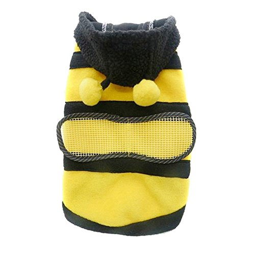 DierCosy Small Bumblebee Dog Cat Puppy Halloween Clothes Pet Apparel Bumble Bee Dress Up Pet Coat Hoodie ()
