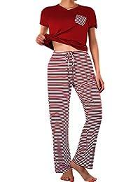 c9ebf85eec4c Summer Pajama Set Women s Cute Short Sleeve Top with Pants Shorts Sleepwear  Pjs Sets