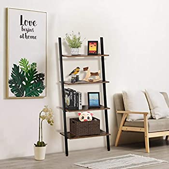 Unine Vintage Industrial Ladder Shelf 4 Tier Bookshelf, Metal and Wood Storage Rack Shelves,Floor-Standing Leaning Bookcase for Living Room, Kitchen, Office, Iron,Stable/Sloping/Against The Wall
