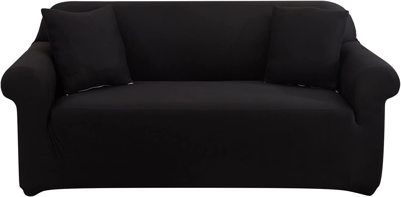 UMETE Stretch Sofa Cover Couch Covers, 1 Piece Loveseat Slipcovers for 2 Cushion Couches, Furniture Protector for Living Room with 2 Pillowcases (Medium,Black)