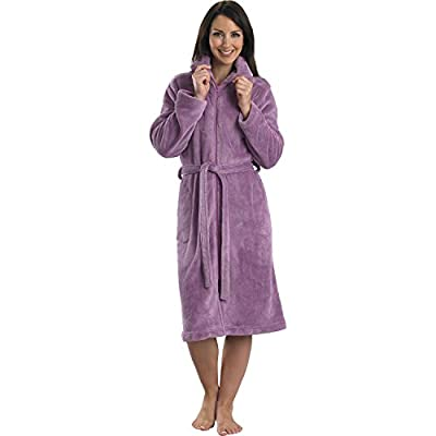 Slenderella Ladies Luxurious Soft Fleece Dressing Gown Zip Up with Pockets S-XL