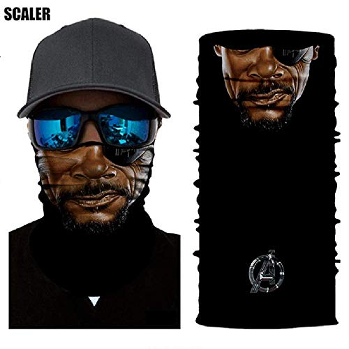 3D Nick Fury Face Tube Neck Face Scarf Lower Half Face Mask Motorcycle Bicycle Shield Sun Air Soft Outdoor Biker Riding Masks No.43]()