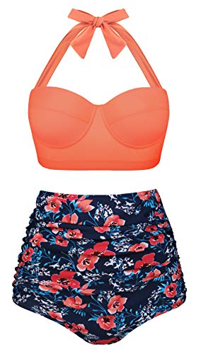 Aixy Women's Retro Swimsuits for Juniors Two Piece High Waisted Bikini Bottom,Halter Orange Floral,4XL ()