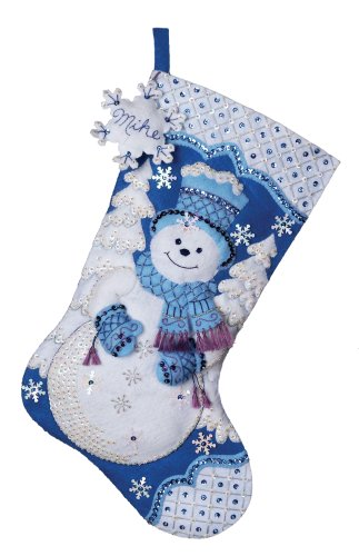 Amazon.com: Bucilla 18-Inches Christmas Stocking Felt Appliqué Kit ...